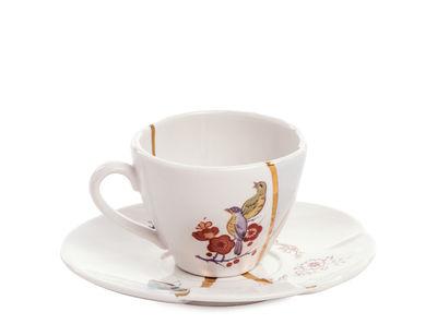 Tasse à café Kintsugi / Set tasse à café avec soucoupe - Seletti blanc,rouge,or en céramique