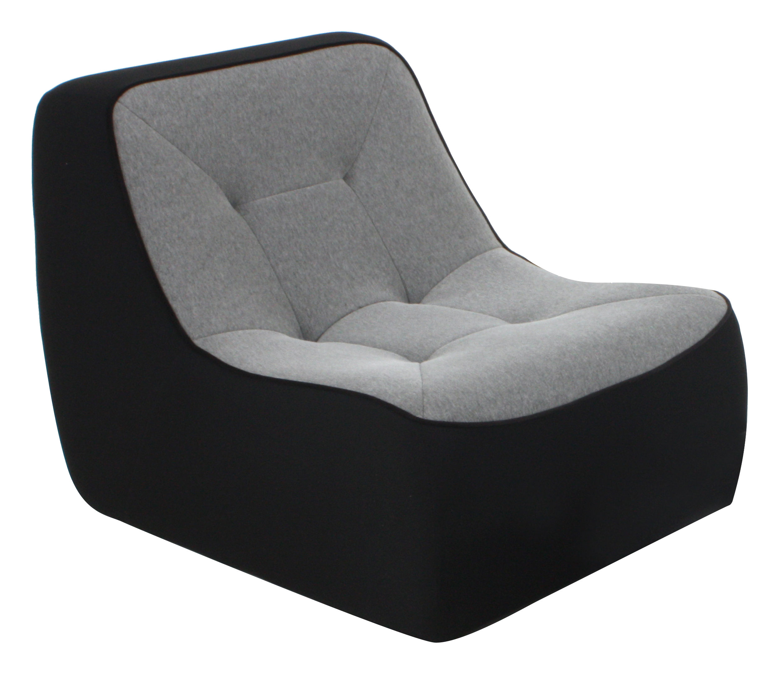 Chauffeuse Tchubby By Ora Ito Noir Gris Chiné Passepoil Noir - Fauteuil chauffeuse