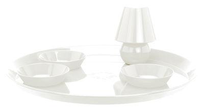 Plateau Snacklight Ø 55 cm / Avec lampe LED aimantée + 3 coupelles - Fatboy blanc en métal