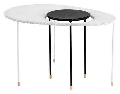 Foto Tavolini estraibili Kangourou - Set 2 tavoli sovrapponibili - Rieditata 50' di Gubi - Bianco,Nero - Metallo