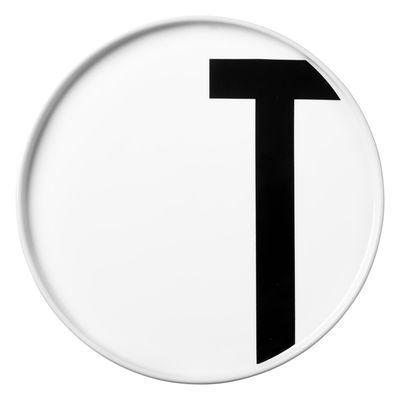 Assiette Arne Jacobsen / Porcelaine - Lettre T - Ø 20 cm - Design Letters blanc en céramique
