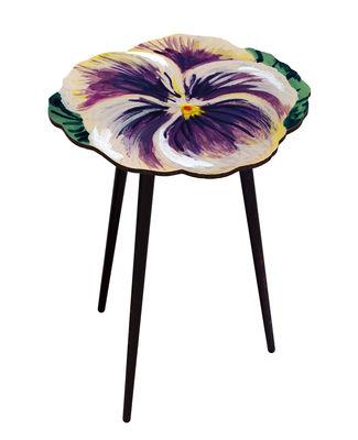 Mobilier - Tables basses - Guéridon Pensée / Ø 61 x H 75 cm - BAZAR THERAPY - Pensée / Violet - Hêtre teinté, Stratifié imprimé