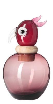 Déco - Vases - Vase Papageno Carlotta / Bocal - H 31 cm - Fait main - Leonardo - Rose / Bouchon rouge - Bois, Verre