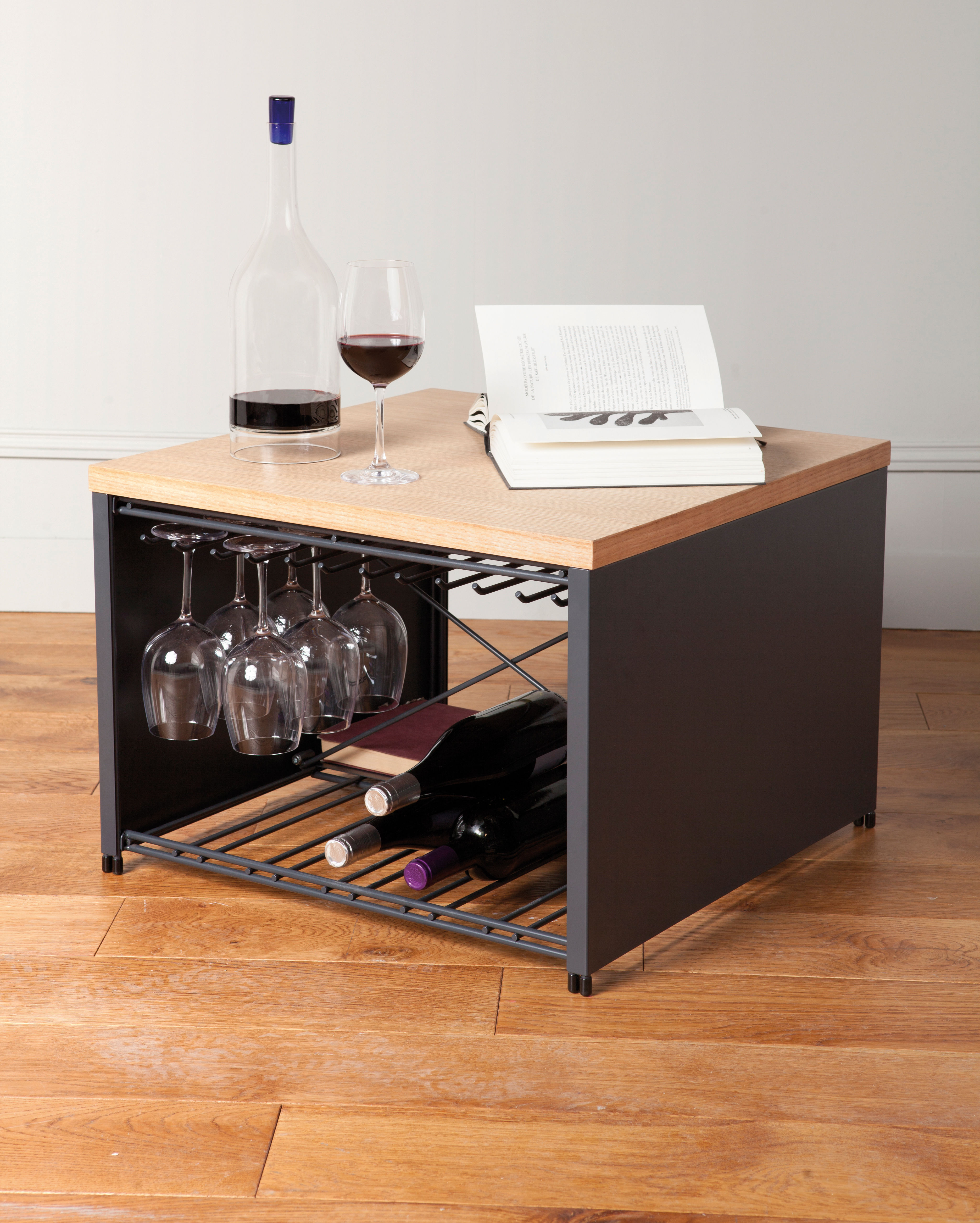 Petit bar coffee table glass and bottle holder 57 x 57 for Table bar 85 cm