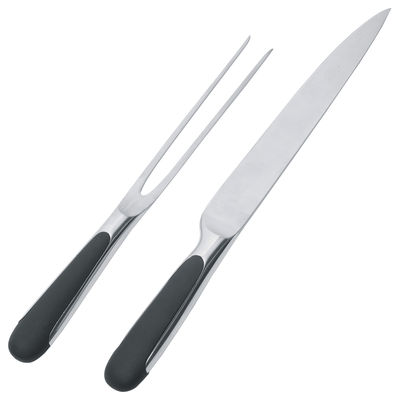 Kitchenware - Kitchen Knives - Mami Carving service - Knife and fork set by Alessi - Steel - Black - TPE, Wrought steel