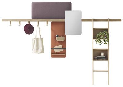 rangement mural zutik 5 accessoires modulables l 300 cm bois corail taupe alki. Black Bedroom Furniture Sets. Home Design Ideas