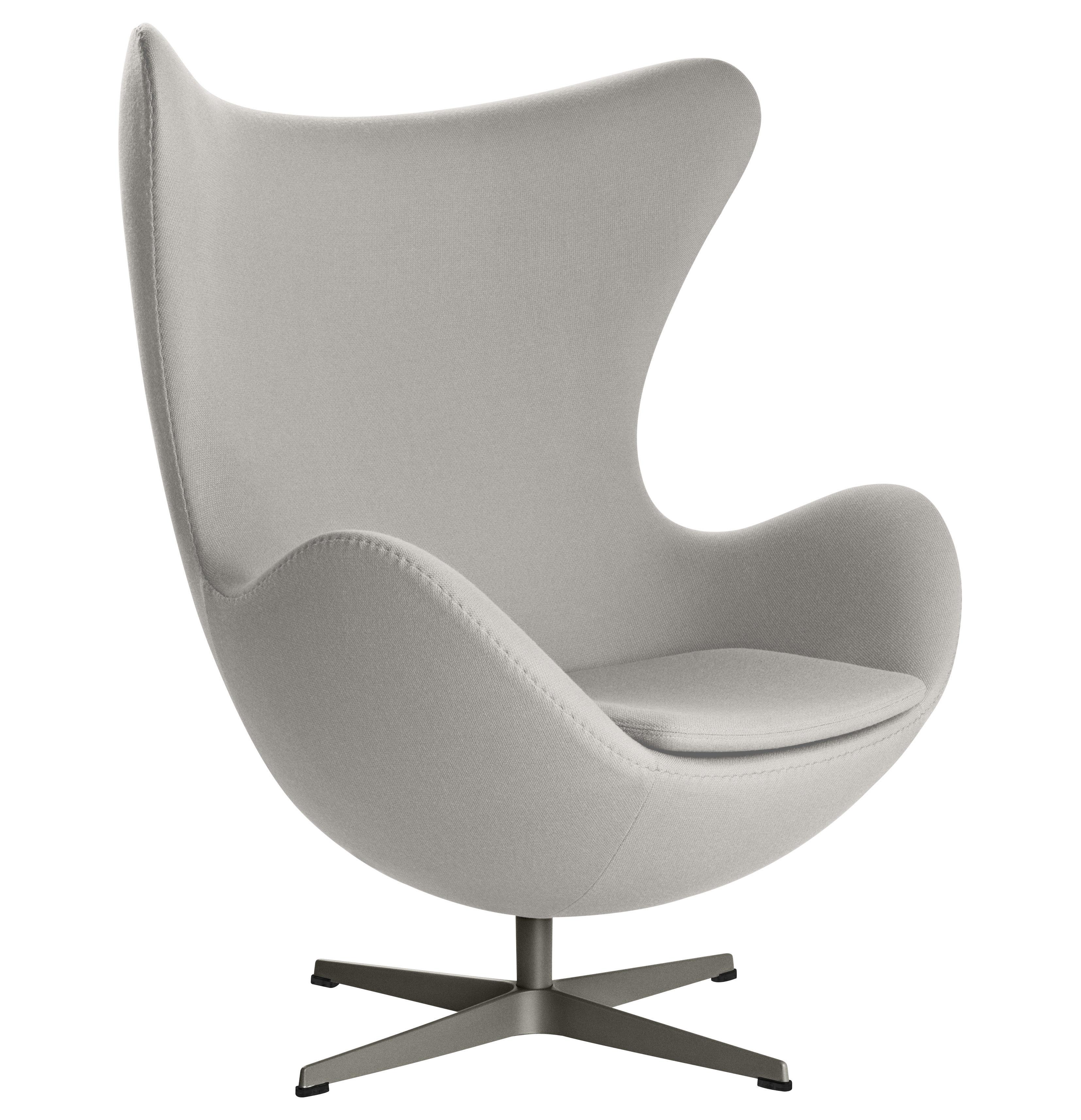 egg chair swivel armchair gabriele fame fabric light grey by fritz hansen. Black Bedroom Furniture Sets. Home Design Ideas