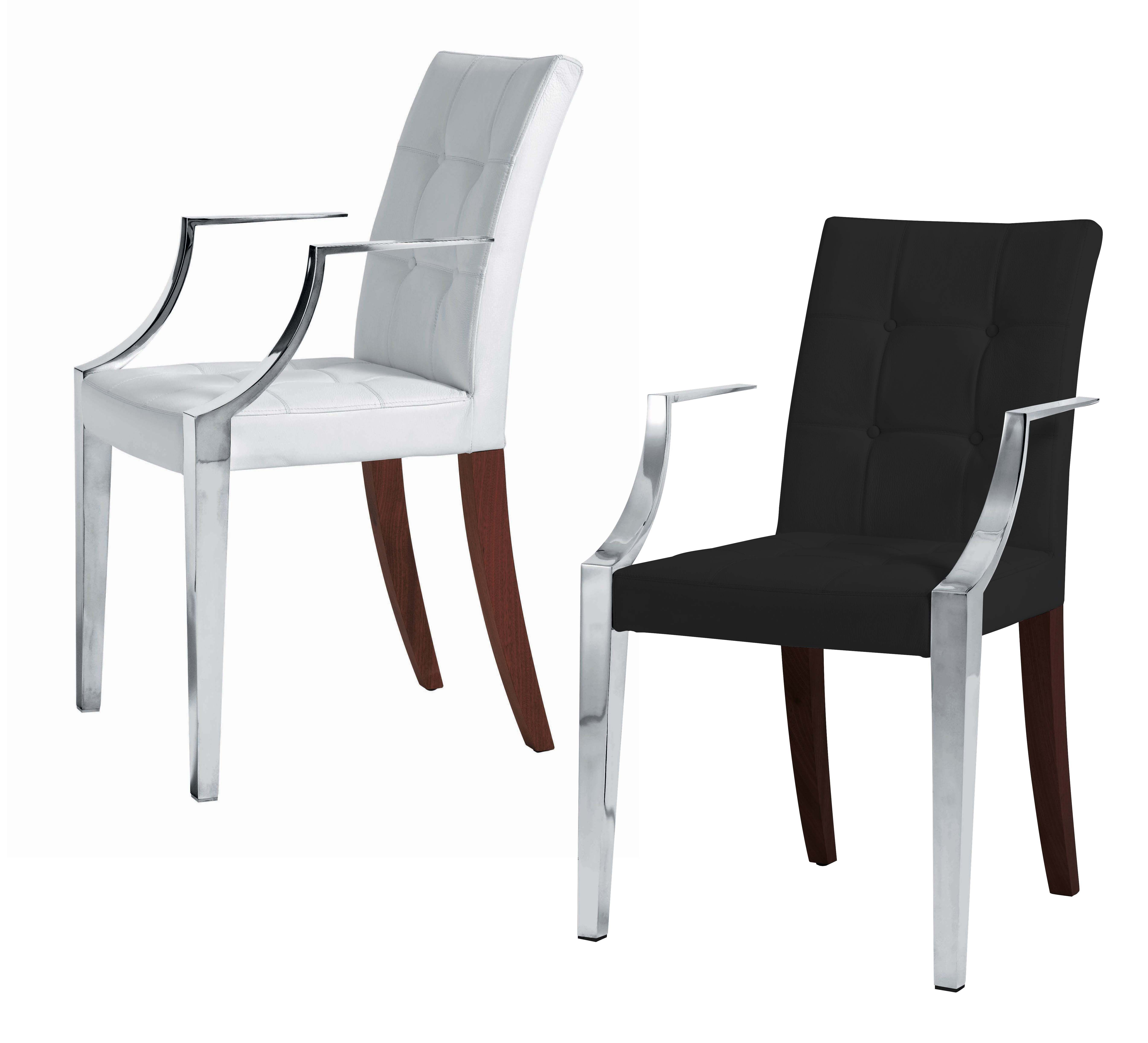 Monseigneur padded armchair small leather white for Small white armchair