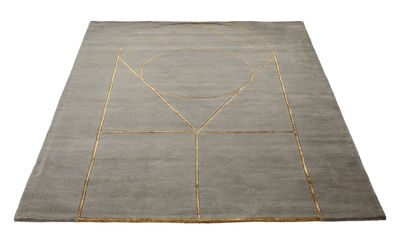 Tapis Simbolo 170 x 240 cm Fait main Bolia gris,doré en tissu