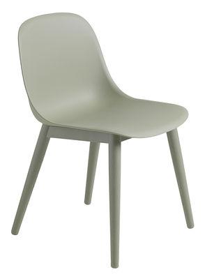 Foto Sedia Fiber / 4 gambe legno - Muuto - Verde - Materiale plastico