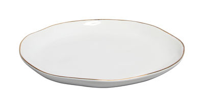 Assiette Porcelaine Liseré or klevering blanc,or en céramique