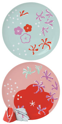 Assiette Surface 02 Poppy for two lot de 2 Ø 26,5 cm Domestic bleu,rose,rouge en céramique