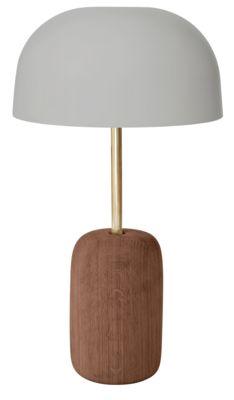 Luminaire - Lampes de table - Lampe de table Nina / Noyer & métal - Exclusivité - Hartô - Gris / Noyer & laiton - Laiton, Métal laqué, Noyer