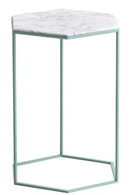 Mobilier - Tables basses - Table d'appoint Hexxed / Marbre - H 50 cm - Diesel with Moroso - Marbre blanc / Base verte - Acier verni, Marbre