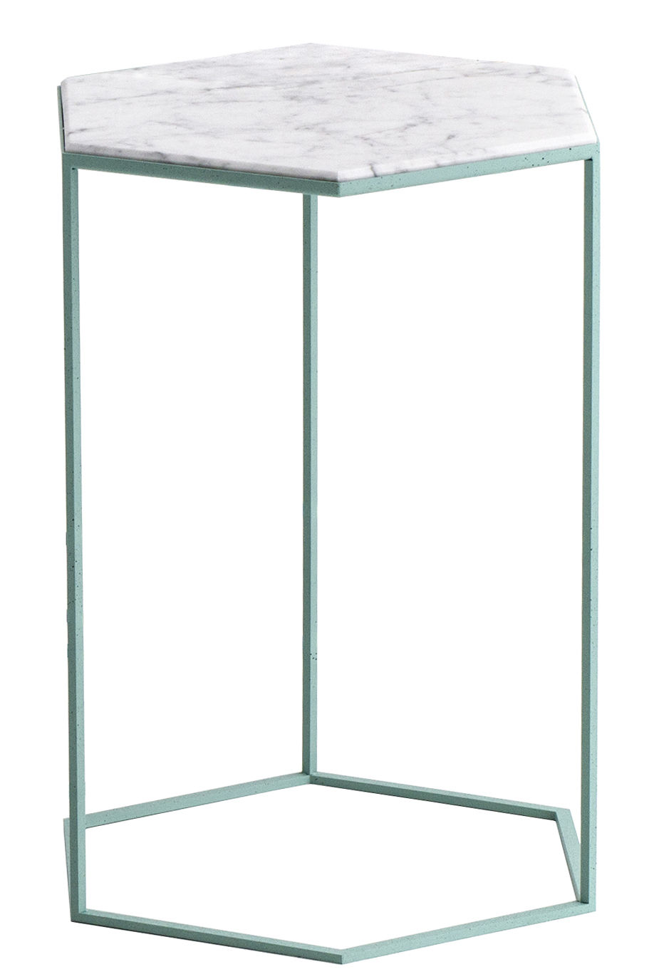 Table d 39 appoint hexxed marbre h 50 cm marbre blanc base verte diesel with moroso - Table d appoint marbre ...