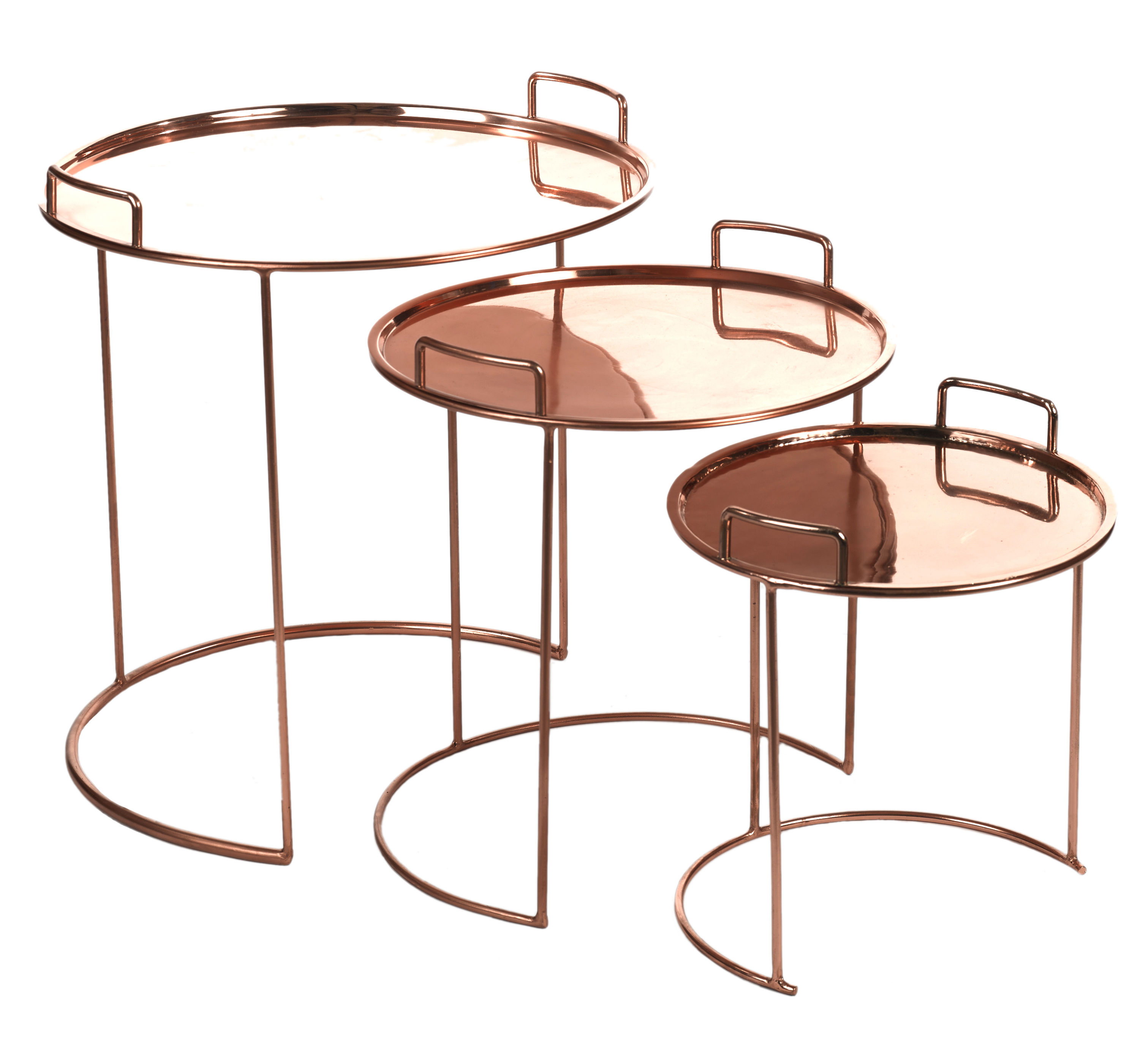 tray round nested tables 3 pieces stackable copper by pols potten. Black Bedroom Furniture Sets. Home Design Ideas