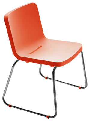 Outdoor - Chairs - Time Out Chair by Serralunga - Orange - Brushed steel, Polythene