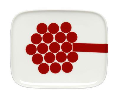 Assiette à dessert Hortensie / 12 x 15 cm - Marimekko blanc,rose,rouge en céramique