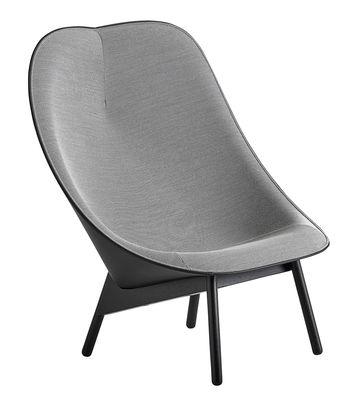 Uchiwa Gepolsterter Sessel / Stoff & Leder, Stuhlbeine aus Holz - Hay - Grau,Schwarz