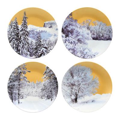 Arts de la table - Assiettes - Assiette Golden Winter / Set de 4 - & klevering - Or / Motifs blancs - Porcelaine