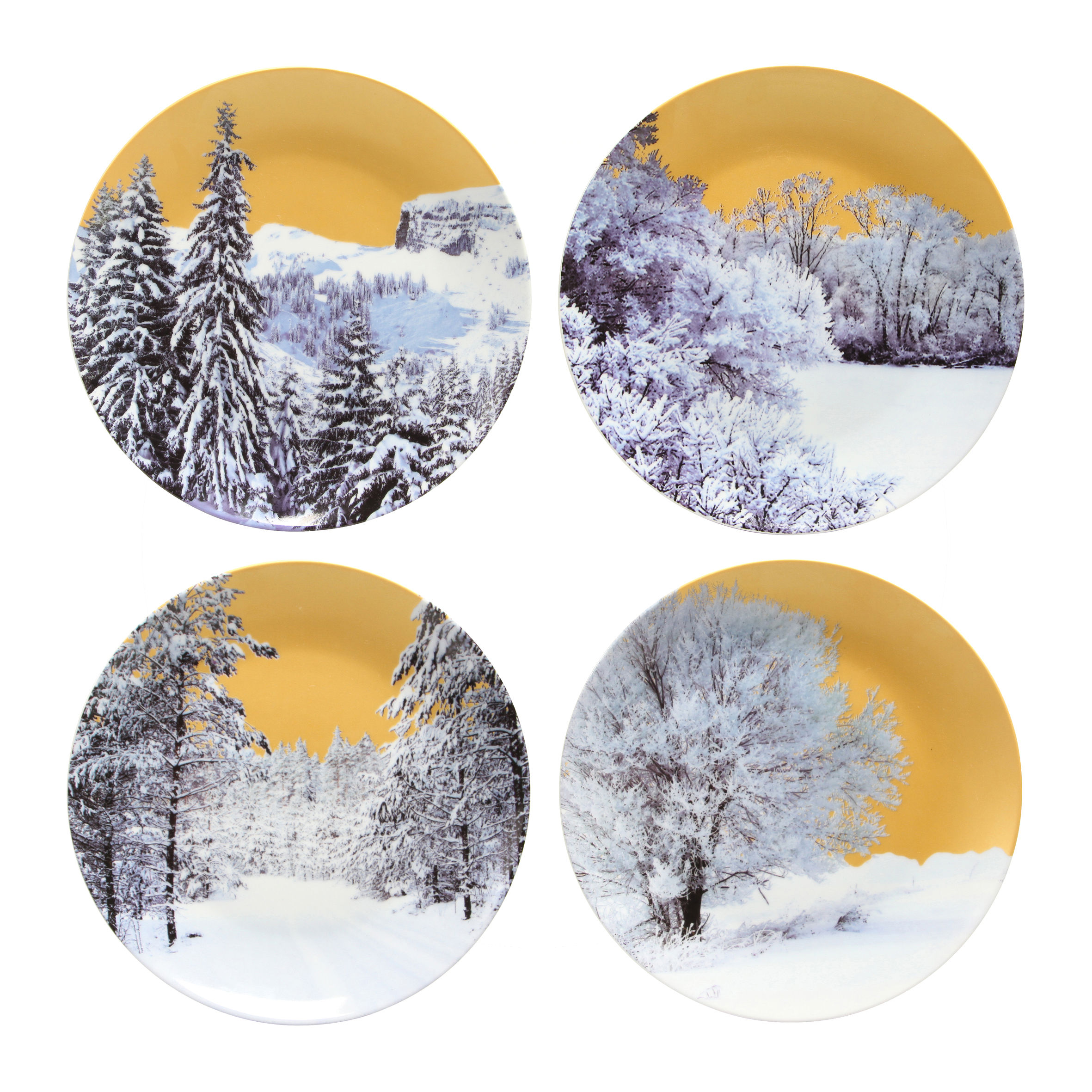 golden winter plate set of 4 gold white patterns by klevering. Black Bedroom Furniture Sets. Home Design Ideas