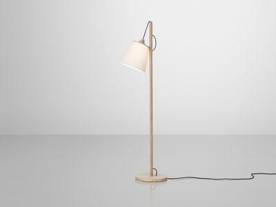 Scopri lampada a stelo pull lamp legno chiaro paralume bianco