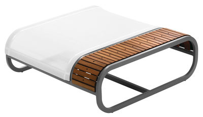 Pouf Tandem version teck - EGO Paris blanc,teck en métal