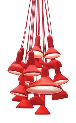 Suspension Torch Light 20 abat jours Established Sons rouge en matière plastique