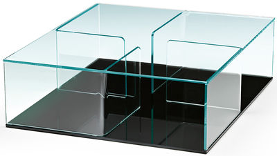 Tavolino Quadra - / 90 x 90 cm di FIAM - Nero,Trasparente - Vetro
