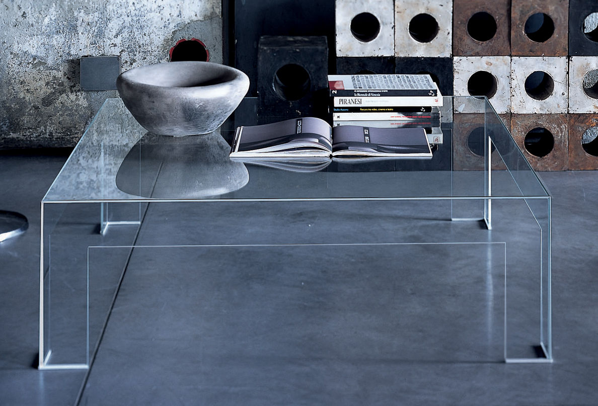 Atlantis coffee table square top 80 x 80 cm by glas italia for Table basse 85 cm