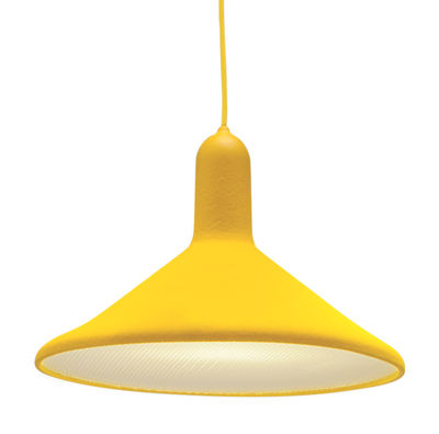 Suspension Torch Light Cône Large Ø 30 cm Established Sons jaune en matière plastique