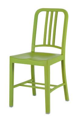 Arredamento - Sedie  - Sedia 111 Navy chair Indoor di Emeco - Verde erba - Fibra di vetro, PET