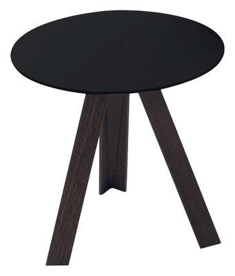table d 39 appoint tre ronde 55 cm h 45 cm plateau noir. Black Bedroom Furniture Sets. Home Design Ideas