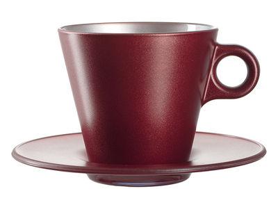 Tasse à cappuccino Ooh ! Magico et sa soucoupe - Leonardo rouge métallisé en verre