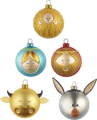 Boule de Noël / Set de 5 : la Nativité - A di Alessi multicolore en verre