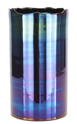 Vase Oil H 47 Cm Bleu Iridescent Tom Dixon
