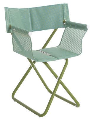 Chaise pliant Snooze Directeur Tissu métal Emu vert en métal