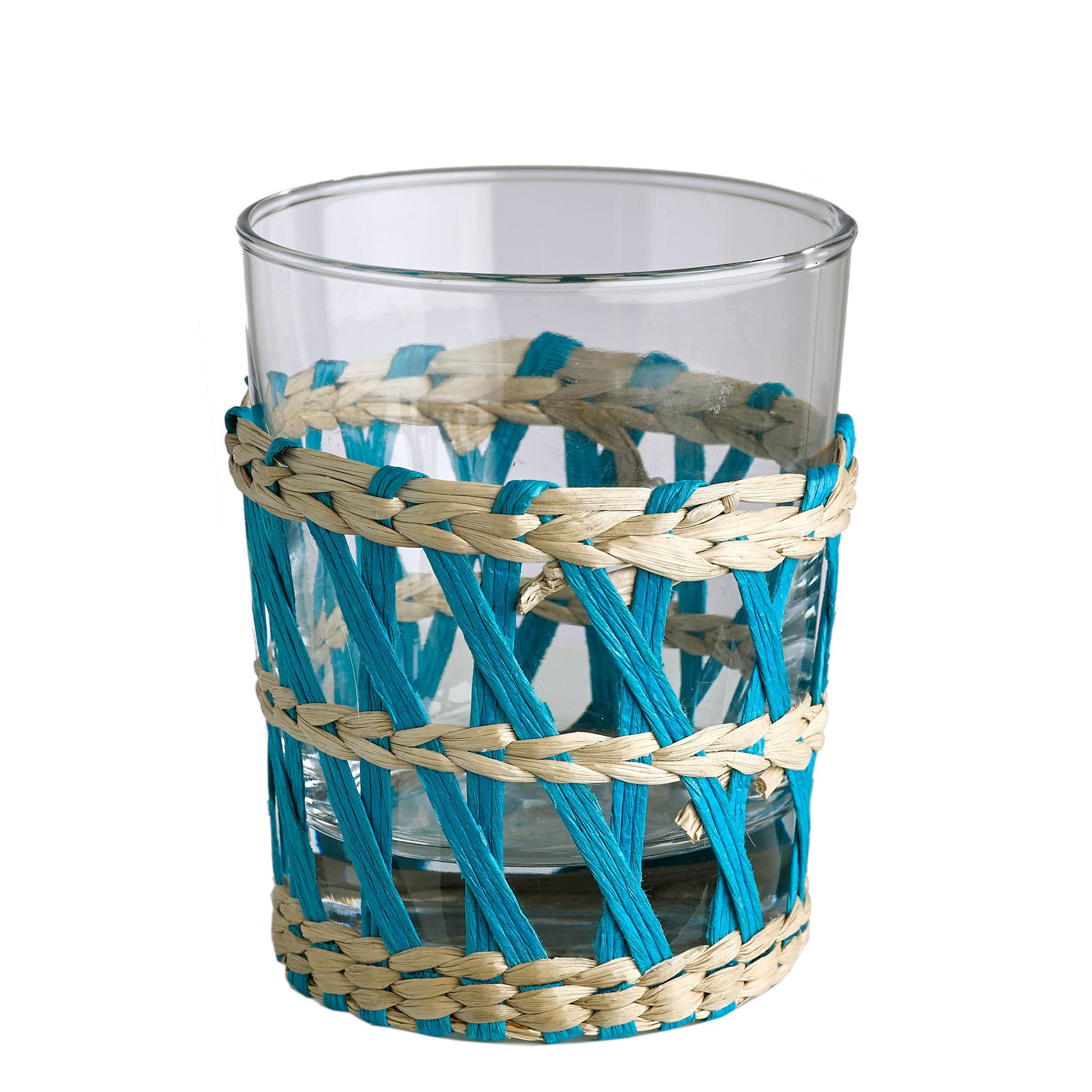 reed 6er set glas schilfgeflecht pols potten wasserglas. Black Bedroom Furniture Sets. Home Design Ideas