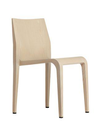 Mobilier - Chaises, fauteuils de salle à manger - Chaise empilable Laleggera / Bois - Alias - Placage chêne blanchi - Bois, Mousse
