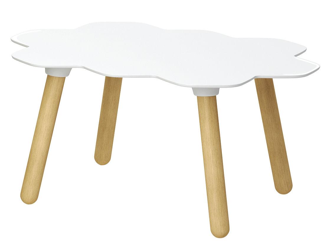 table basse tarta plateau blanc pi tement bois naturel slide. Black Bedroom Furniture Sets. Home Design Ideas