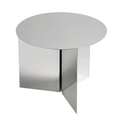 Tavolino d'appoggio Slit Round - / Ø 45 cm - Metallo di Hay - Miroir poli - Metallo