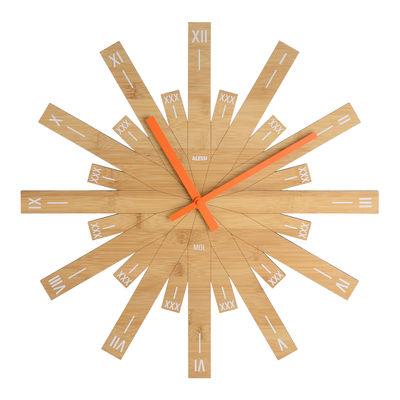 Horloge murale Raggiante / Bambou- Ø 48 cm - Alessi orange,bois naturel en bois
