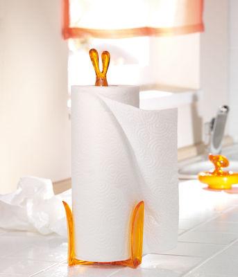 porte rouleau essuie tout roger orange transparent koziol. Black Bedroom Furniture Sets. Home Design Ideas