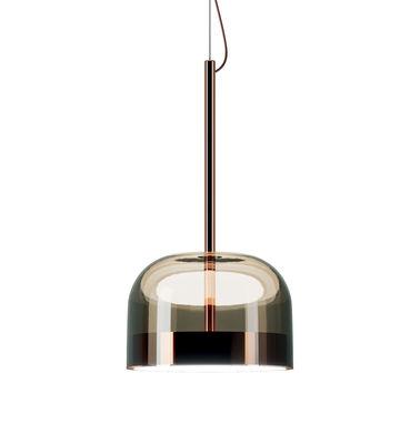 Lighting - Pendant Lighting - Equatore small Pendant - / LED - Glass - Ø 24 cm by Fontana Arte - Ø 24 x H 44 cm / Copper & brown - Blown glass, Metal
