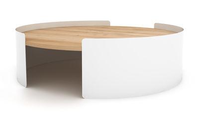 Tavolino basso Moon / Ø 100 cm - Universo Positivo - Bianco,Rovere naturale - Legno