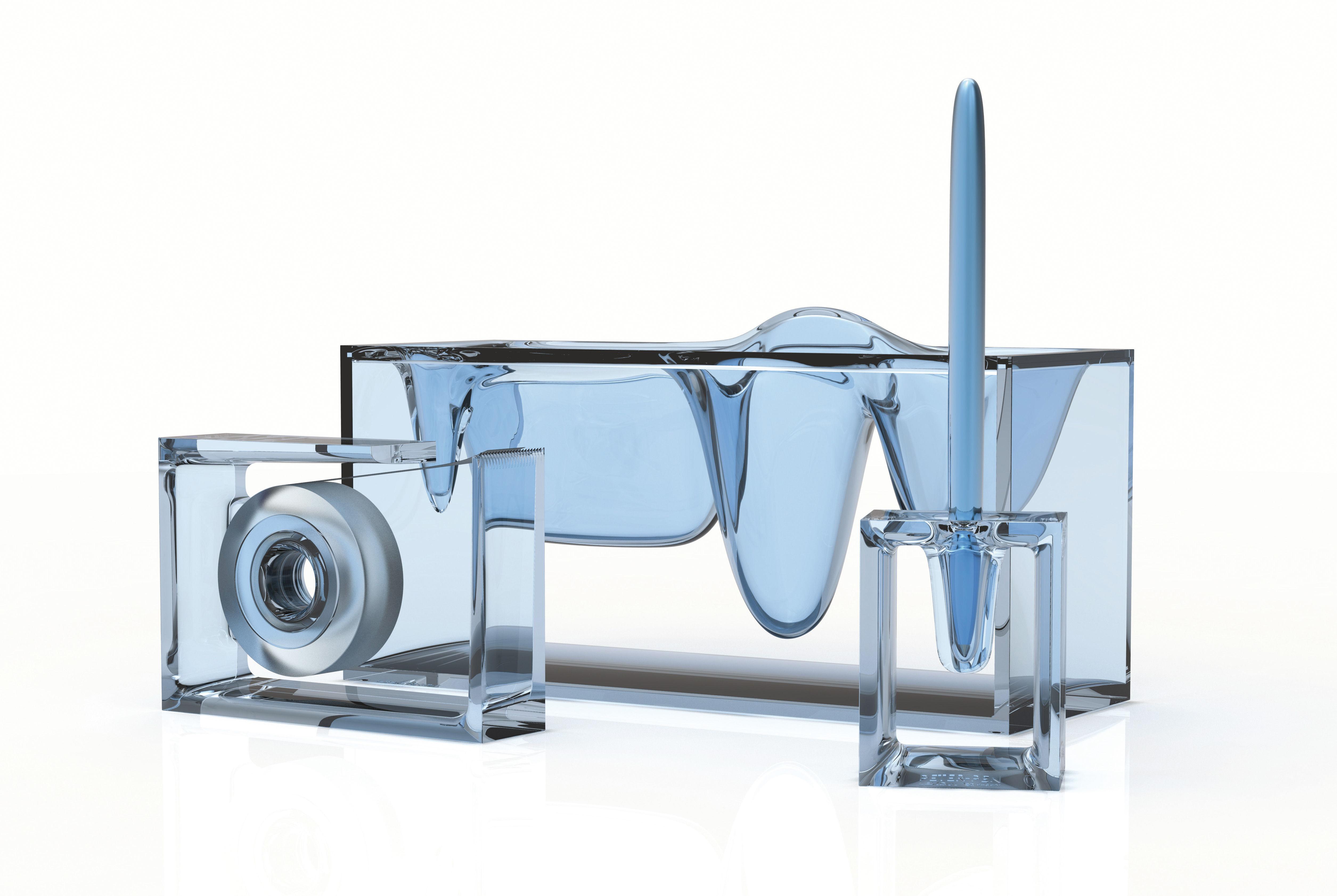 organiseur de bureau liquid station by eugeni quitllet transparent lexon. Black Bedroom Furniture Sets. Home Design Ideas