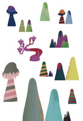 Decoration - Wallpaper & Wall Stickers - Mountains Sticker by Domestic - Multicoloured - Vinal