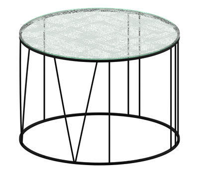 Tavolino basso Roma - Bianco,Trasparente,Nero ramato - Metallo