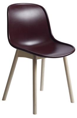 Chaise Neu / Plastique & pieds bois - Hay rouge,bois naturel en matière plastique