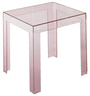Tavolino d'appoggio Jolly di Kartell - Rosa trasparente - Materiale plastico